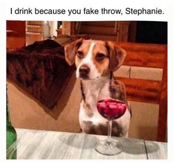 Dog - I drink because you fake throw, Stephanie.