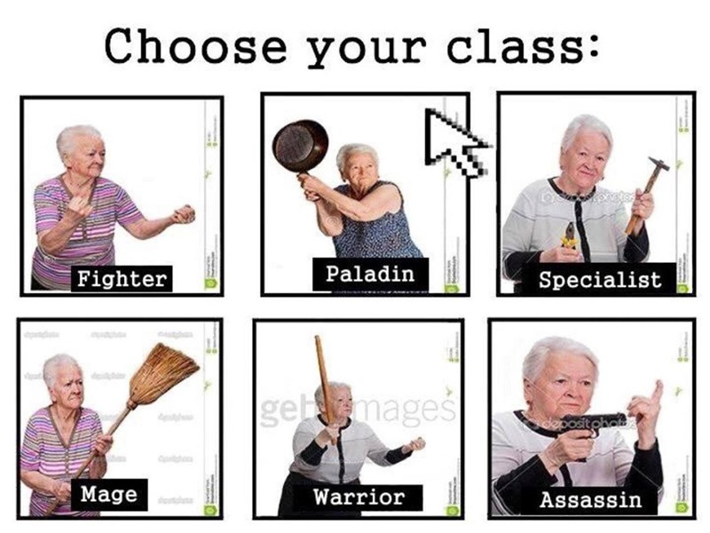 Facial expression - Choose your class: Paladin Fighter Specialist getmages Mage Warrior Assassin