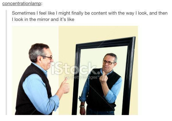 """Glasses - concentrationlamp: Sometimes I feel like I might finally be content with the way I look, and then I look in the mirror and it's like iStockx by Gettyimages"""""""