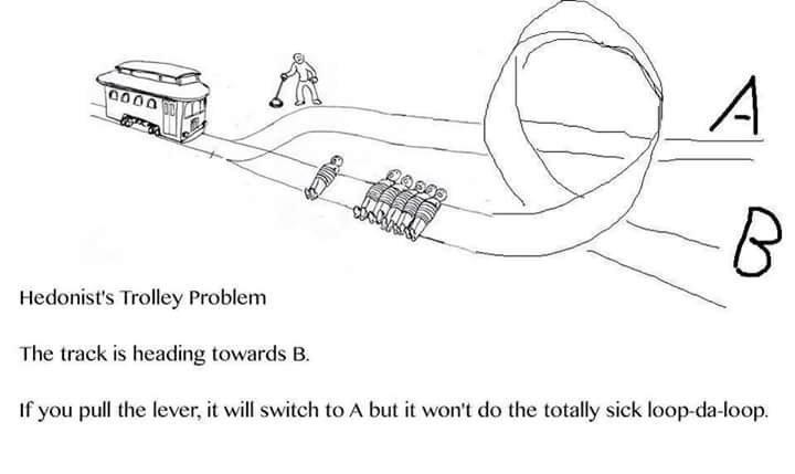 Gesture - Hedonist's Trolley Problem The track is heading towards B. If you pull the lever, it will switch to A but it won't do the totally sick loop-da-loop.
