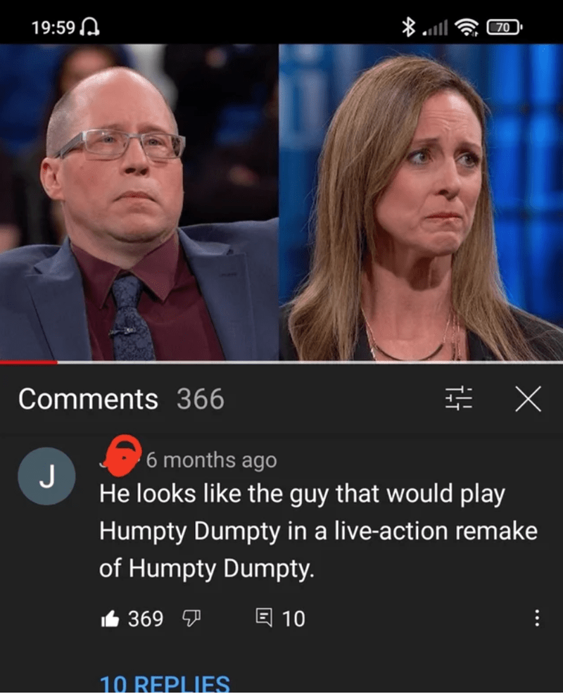 Chin - 19:59 A 70 Comments 366 三X 6 months ago J He looks like the guy that would play Humpty Dumpty in a live-action remake of Humpty Dumpty. 6 369 7 回 10 10 REPLIES ..