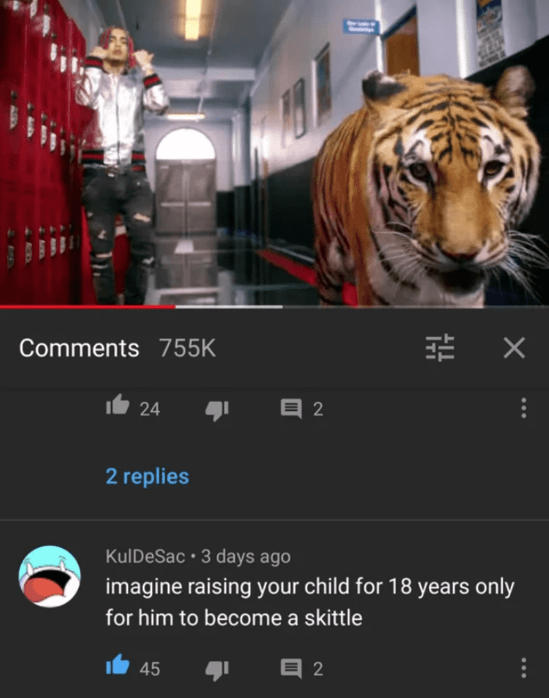 Bengal tiger - Comments 755K 24 目2 2 replies KulDeSac • 3 days ago imagine raising your child for 18 years only for him to become a skittle 45 目2