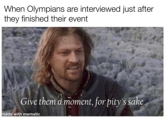 Forehead - When Olympians are interviewed just after they finished their event Give them a moment, for pity's sake made with mematic