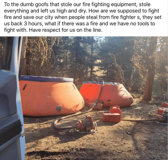 Automotive tire - To the dumb goofs that stole our fire fighting equipment, stole everything and left us high and dry. How are we supposed to fight fire and save our city when people steal from fire fighter s, they set us back 3 hours, what if there was a fire and we have no tools to fight with. Have respect for us on the line.