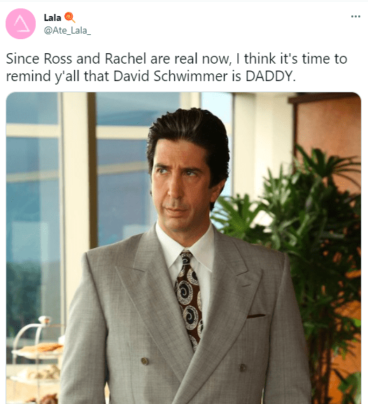 Forehead - Lala ... @Ate_Lala_ Since Ross and Rachel are real now, I think it's time to remind y'all that David Schwimmer is DADDY.