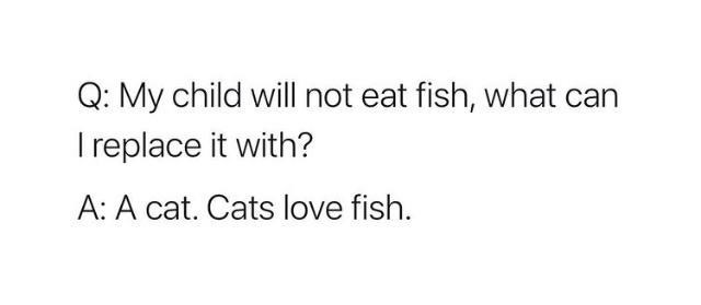 Font - Q: My child will not eat fish, what can I replace it with? A: A cat. Cats love fish.