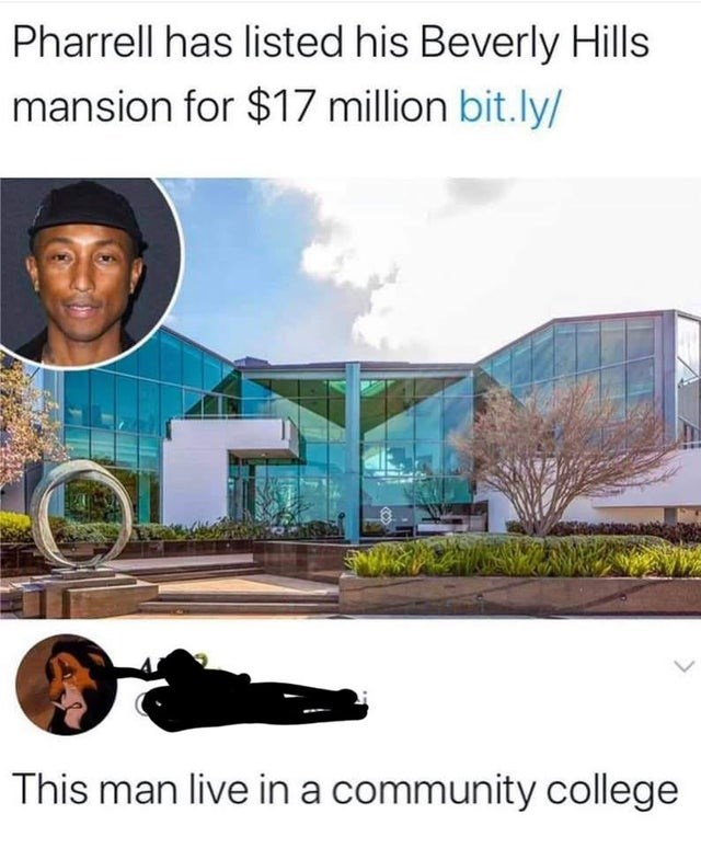 Plant - Pharrell has listed his Beverly Hills mansion for $17 million bit.ly/ This man live in a community college