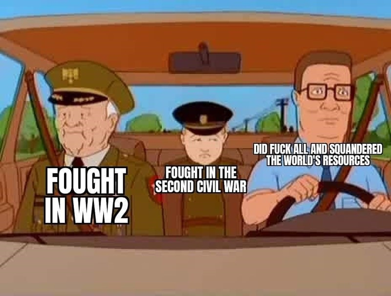 Cartoon - DID FUCK ALL AND SQUANDERED THE WORLD'S RESOURCES FOUGHT SECOND CIVIL WAR IN WW2