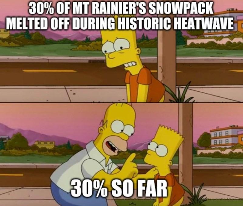 Cartoon - 30% OF MT RAINIER'S SNOWPACK MELTED OFF DURING HISTORIC HEATWAVE D00 BRA 30% SO FAR