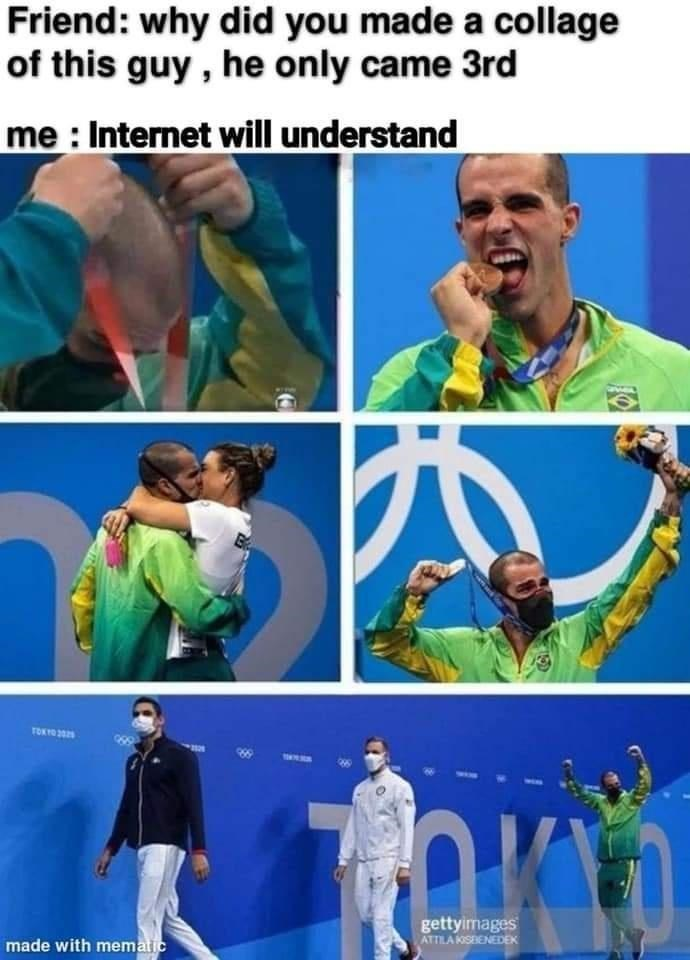 Green - Friend: why did you made a collage of this guy , he only came 3rd me : Internet will understand TOKYO 2 gettyirmages ATTILA KISBENEDEK made with mematic