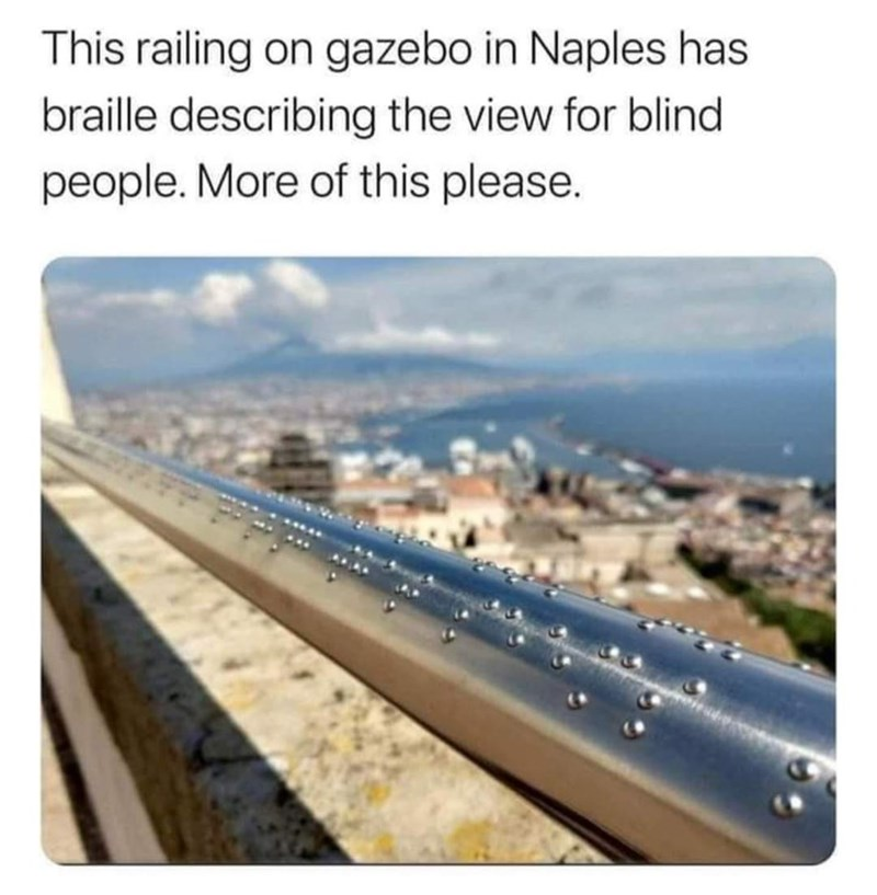 Sky - This railing on gazebo in Naples has braille describing the view for blind people. More of this please.