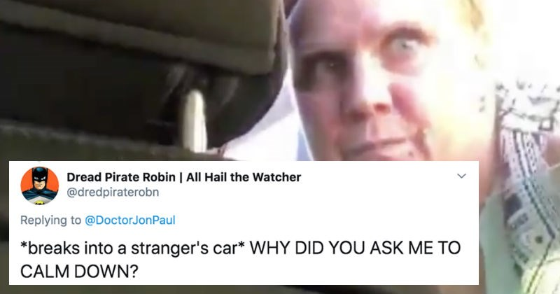 Twitter users respond to an angry woman yelling through an Uber passenger's window.