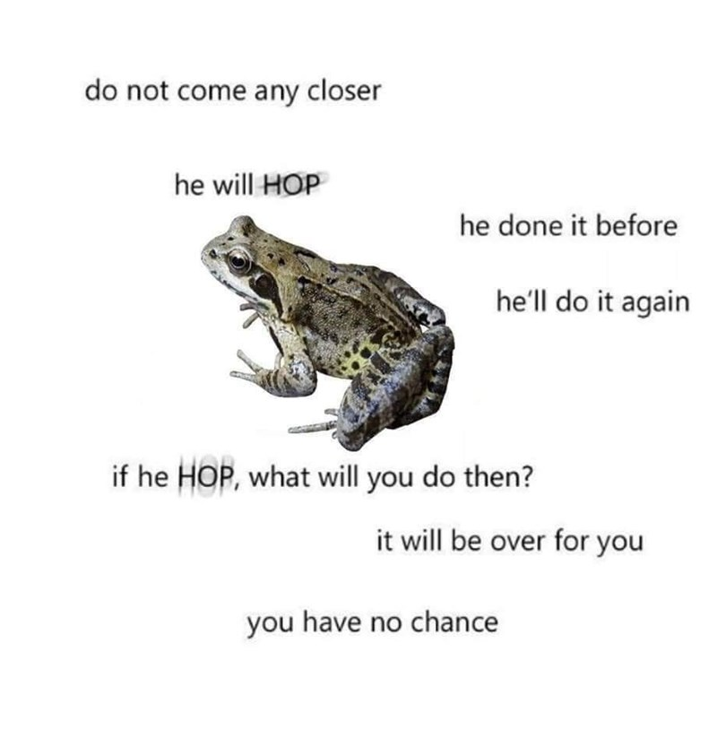 True toad - do not come any closer he will HOP he done it before he'll do it again if he HOP, what will you do then? it will be over for you you have no chance