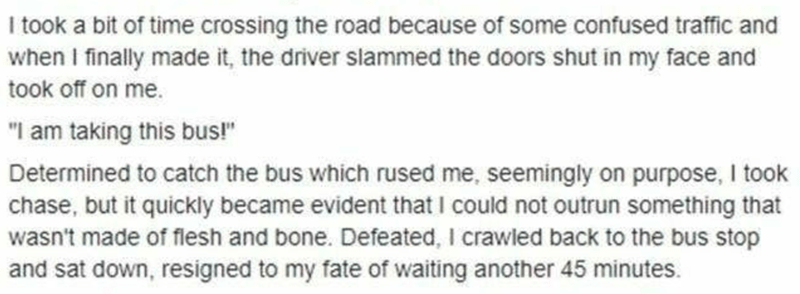 """Product - I took a bit of time crossing the road because of some confused traffic and when I finally made it, the driver slammed the doors shut in my face and took off on me. """"I am taking this bus!"""" Determined to catch the bus which rused me, seemingly on purpose, I took chase, but it quickly became evident that I could not outrun something that wasn't made of flesh and bone. Defeated, I crawled back to the bus stop and sat down, resigned to my fate of waiting another 45 minutes."""