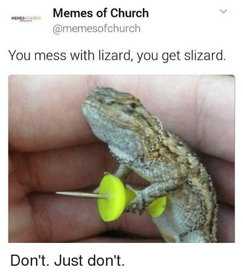 Iguania - Memes of Church MEMES-CHURCH @memesofchurch You mess with lizard, you get slizard. Don't. Just don't. >