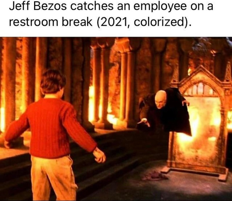 Human - Jeff Bezos catches an employee on a restroom break (2021, colorized).