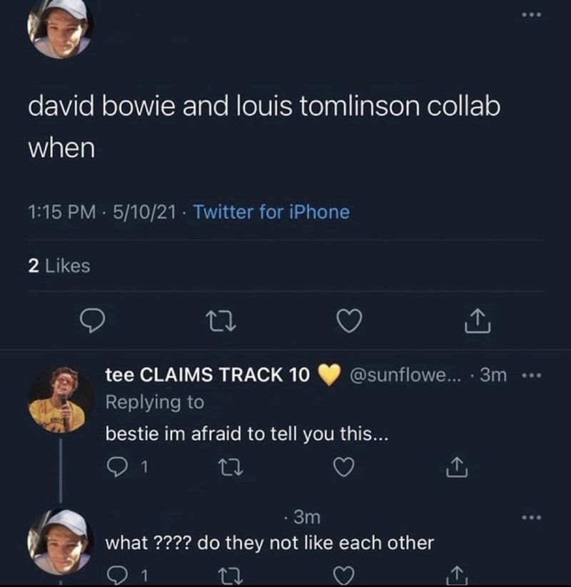 Product - david bowie and louis tomlinson collab when 1:15 PM · 5/10/21 · Twitter for iPhone 2 Likes tee CLAIMS TRACK 10 @sunflowe... · 3m Replying to bestie im afraid to tell you this... 1 27 · 3m what ???? do they not like each other 个 1