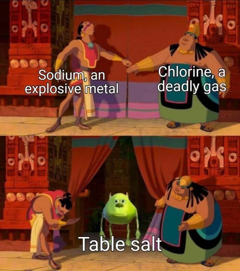 Human - Sodium, an explosive metal Chlorine, a deadly gas Table salt
