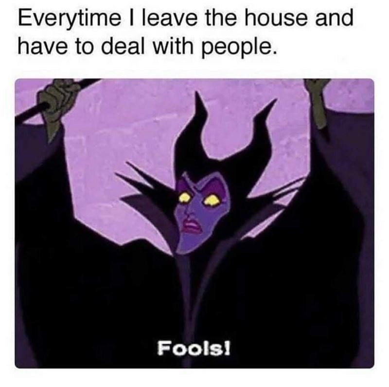 Purple - Everytime I leave the house and have to deal with people. Fools!
