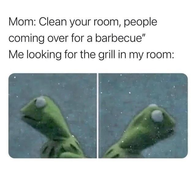 """Plant - Mom: Clean your room, people coming over for a barbecue"""" Me looking for the grill in my room:"""