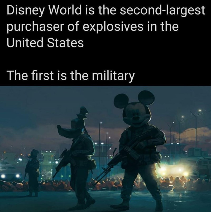World - Disney World is the second-largest purchaser of explosives in the United States The first is the military
