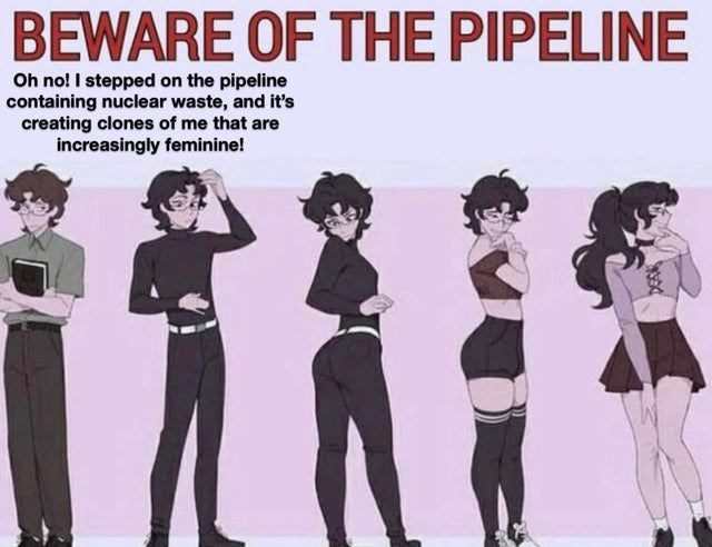 Hairstyle - BEWARE OF THE PIPELINE Oh no! I stepped on the pipeline containing nuclear waste, and it's creating clones of me that are increasingly feminine!