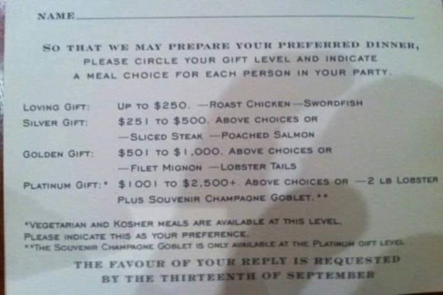 Font - NAME sO THAT WE MAY PREPARE YOUR PREFERRED DINNER, PLEASE CIRCLE YOUR GIFT LEVEL AND INDICATE A MEAL CHOICE FOR EACH PERSON IN YOUR PARTY. UP TO $250.-ROAST CHICKEN-SWORDFISH $251 TO $500. ABOVE CHOICES OR -SLICED STEAK-POACHED SALMON $501 TO $1,000. ABOVE CHOICES OR LOVING GIFT: SILVER GIFT: GOLDEN GIFT: -FILET MIGNON -LOBSTER TAILS PLATINUM GIFT: $1 001 TO $2,500+. ABOVE CHOICES OR -2 LB LOBSTER PLUS SOUVENIR CHAMPAGNE GOBLET. .. *VEGETARIAN AND KOSHER MEALS ARE AVAILABLE AT THIS LEVEL