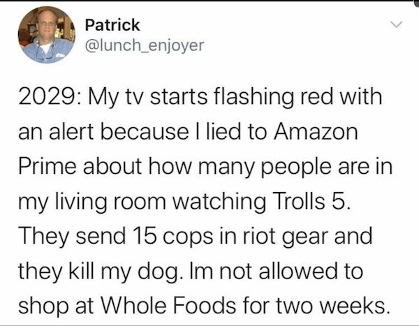 Font - Patrick @lunch_enjoyer 2029: My tv starts flashing red with an alert because I lied to Amazon Prime about how many people are in my living room watching Trolls 5. They send 15 cops in riot gear and they kill my dog. Im not allowed to shop at Whole Foods for two weeks.