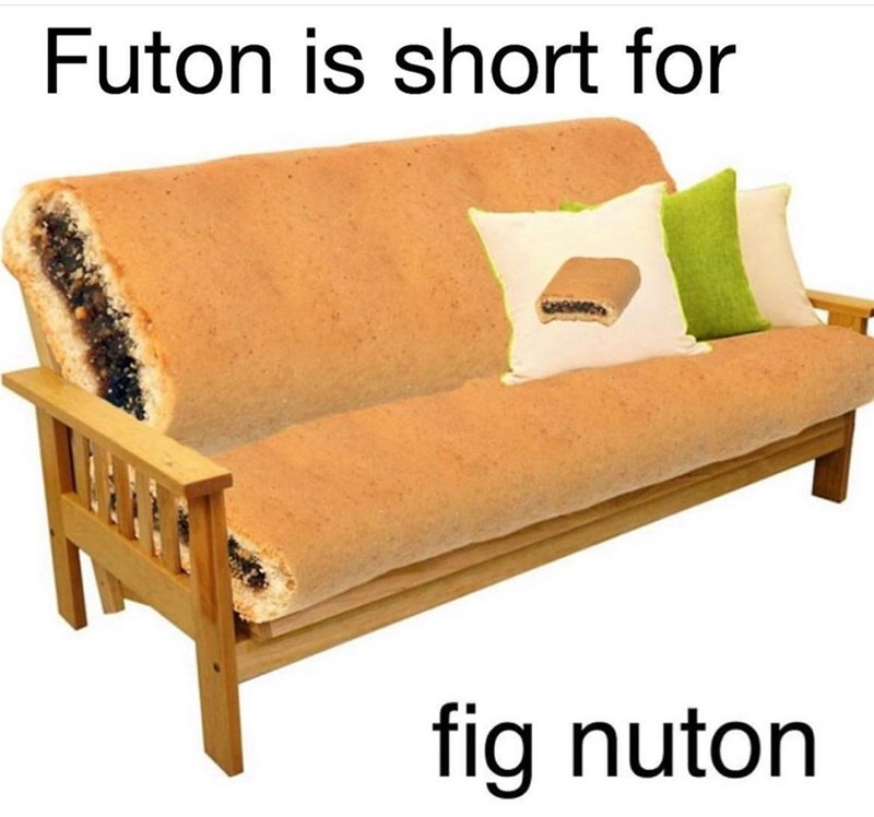 Couch - Futon is short for fig nuton