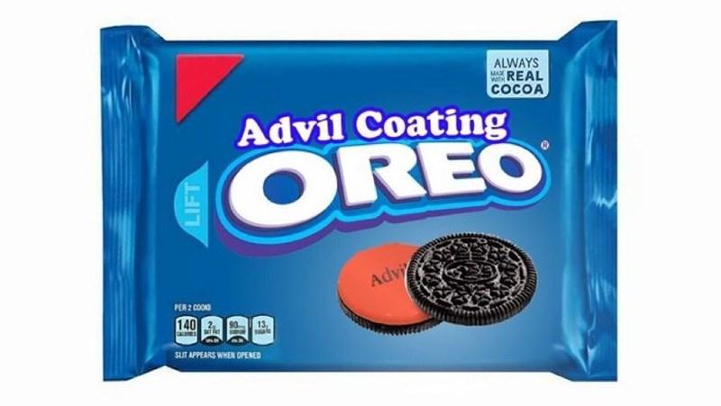 Food - ALWAYS MAN wREAL COCOA Advil Coating OREO Advi PER 2 COOO 140 13, CAL Tk sUT APPEARS WHEN OPENED LIFT