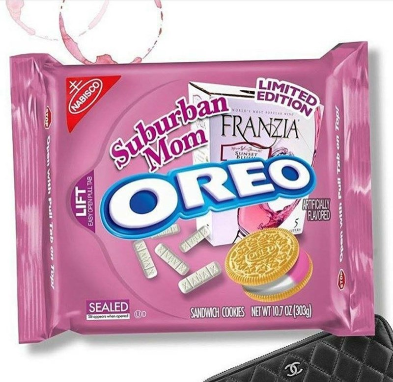 Food - Suburban Mom LIMITED EDITION VORLO'S WOST FOELA WINE FRANZIA SUNSIT BLUSS OREO RTFICALY RLAVORED ANAX SEALED Soppeons when opened (UD SANDWICH COOKIES NETWT 107 0Z (303) STOP NABISCO Open with Pull Ta b on 7 op LIFT EASY OPEN PULL TAB