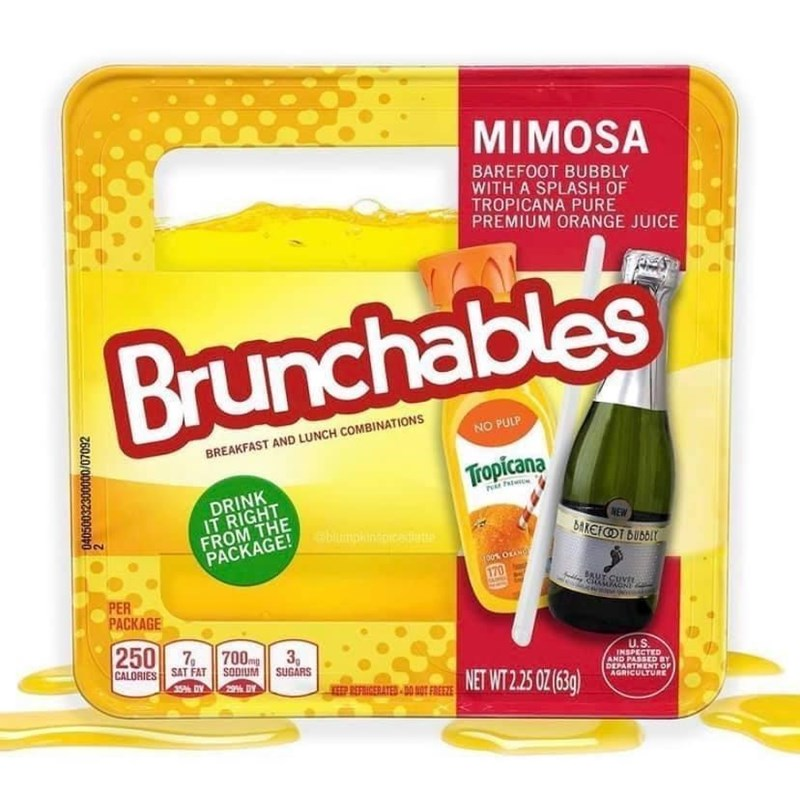Liquid - MIMOSA BAREFOOT BUBBLY WITH A SPLASH OF TROPICANA PURE PREMIUM ORANGE JUICE Brunchables NO PULP BREAKFAST AND LUNCH COMBINATIONS Tropicana DRINK IT RIGHT FROM THE P Patw NEW BAREFOT BUBBIY abmpinoicate PACKAGE! 00% OLAN 170 BRUT CUVIL PER PACKAGE 250 7 700m 3, Img CALORIES SAT FAT SODIUM SUGARS INSPECTED AND PASSED BY DEPARTMENT OF AGRICULTURE U.S NET WT 2.25 OZ (639) 35% DY 29% DY ICERATED DO NOT FREEZE Z60L0/00000EZE00SODO