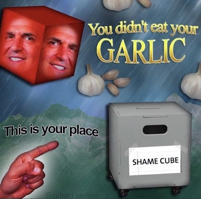 Facial expression - You didn't eat your GARLIC This is your place SHAME CUBE @cuboid.saviour