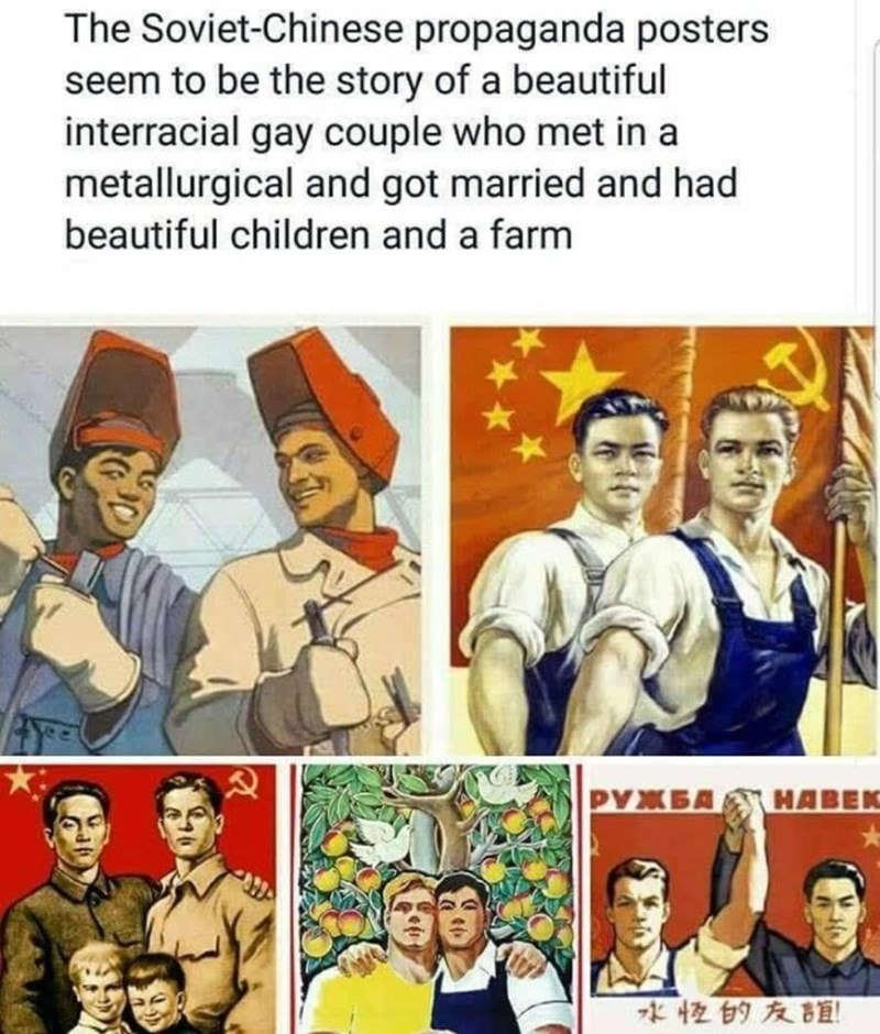 Facial expression - The Soviet-Chinese propaganda posters seem to be the story of a beautiful interracial gay couple who met in a metallurgical and got married and had beautiful children and a farm PYXBA HABEK 水性的友誼!