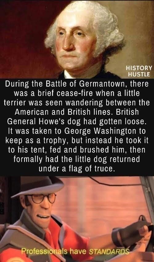 Facial expression - HISTORY HUSTLE During the Battle of Germantown, there was a brief cease-fire when a little terrier was seen wandering between the American and British lines. British General Howe's dog had gotten loose. It was taken to George Washington to keep as a trophy, but instead he took it to his tent, fed and brushed him, then formally had the little dog returned under a flag of truce. Professionals have STANDARDS
