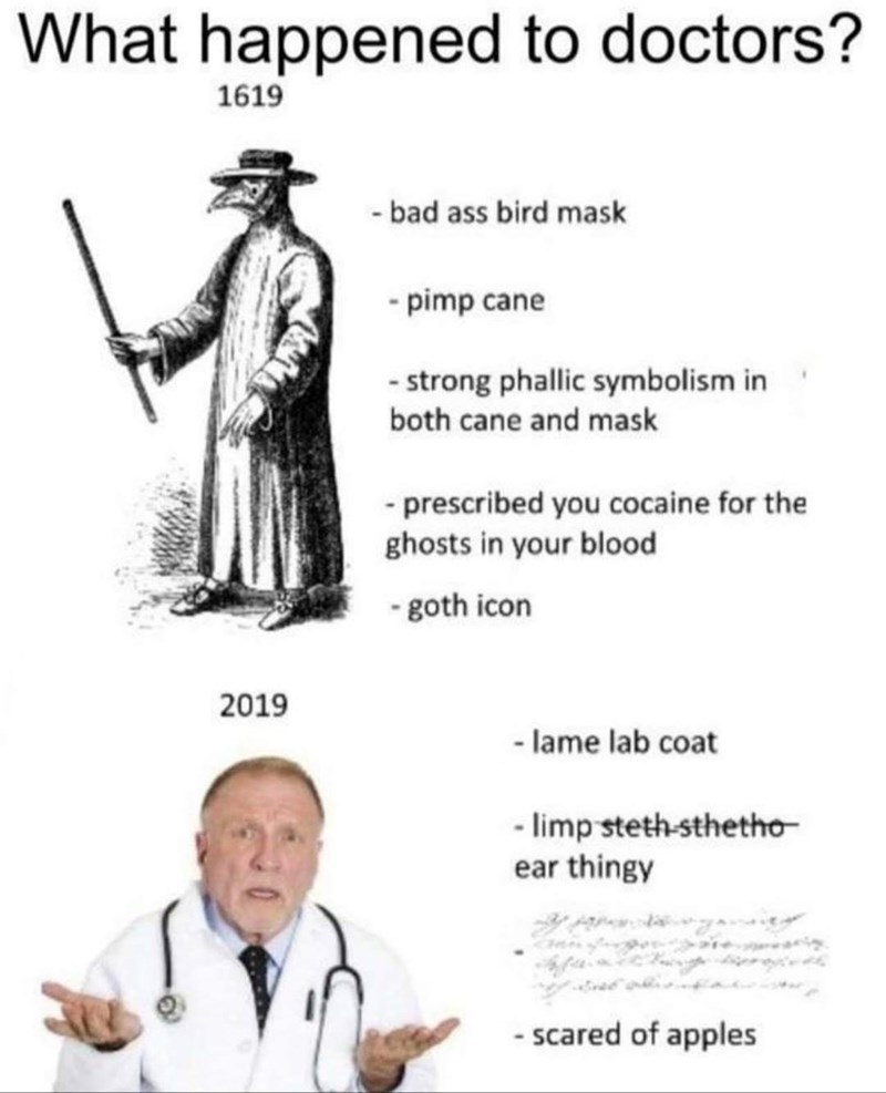 Outerwear - What happened to doctors? 1619 - bad ass bird mask - pimp cane - strong phallic symbolism in both cane and mask - prescribed you cocaine for the ghosts in your blood - goth icon 2019 - lame lab coat - limp steth-sthetho- ear thingy - scared of apples