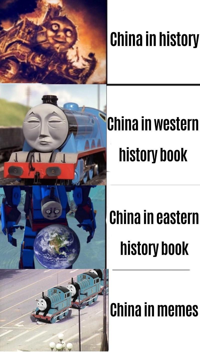 Cartoon - China in history China in western history book China in eastern history book China in memes