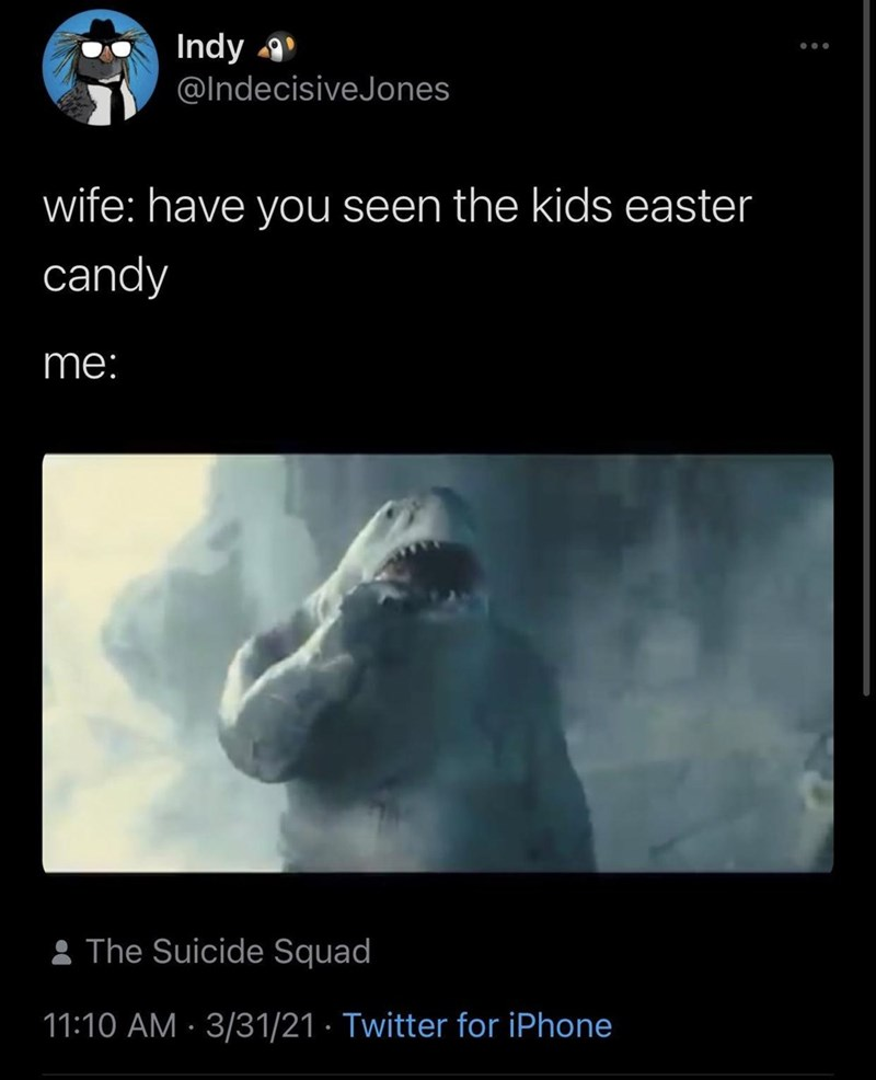 Gesture - Indy @IndecisiveJones wife: have you seen the kids easter candy me: : The Suicide Squad 11:10 AM · 3/31/21 · Twitter for iPhone