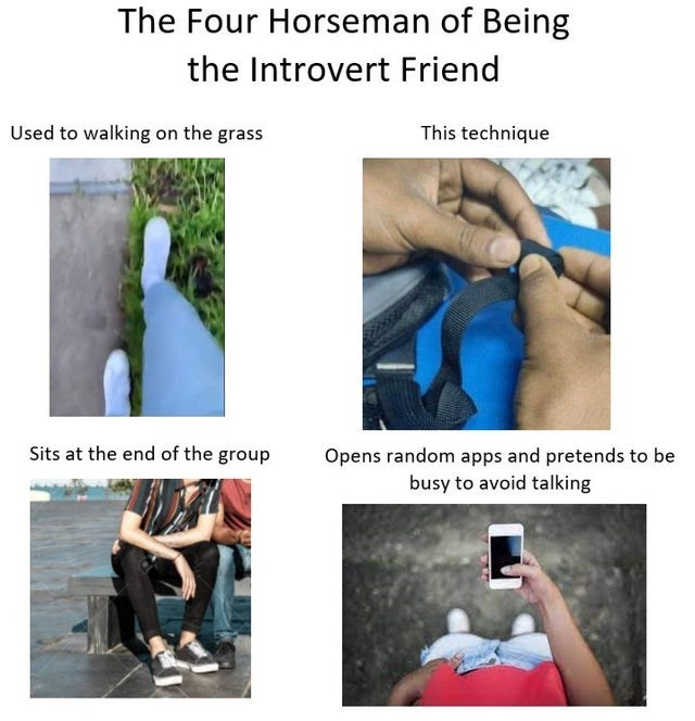 Joint - The Four Horseman of Being the Introvert Friend Used to walking on the grass This technique Sits at the end of the group Opens random apps and pretends to be busy to avoid talking