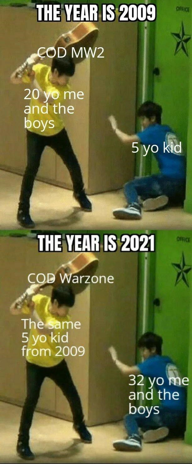 Joint - THE YEAR IS 2009 OFFICE COD MW2 20 yo me and the boys 5 yo kid OFFICE THE YEAR IS 2021 COD Warzone The same 5 yo kid from 2009 32 yo me and the boys