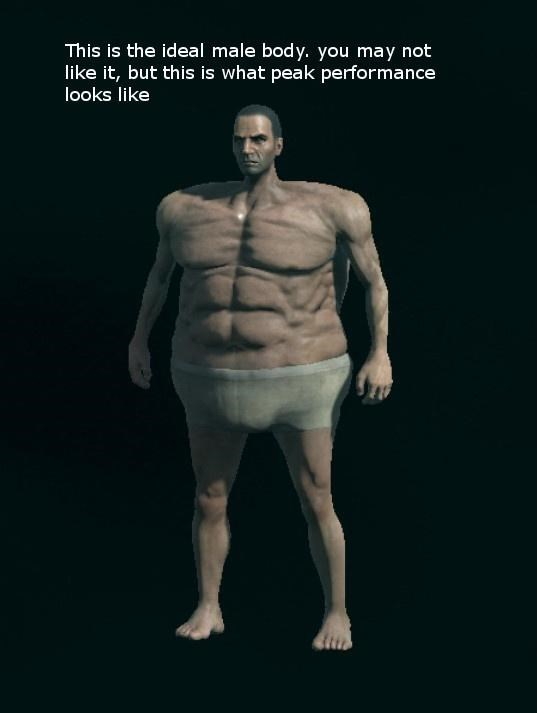 Head - This is the ideal male body. you may not like it, but this is what peak performance looks like