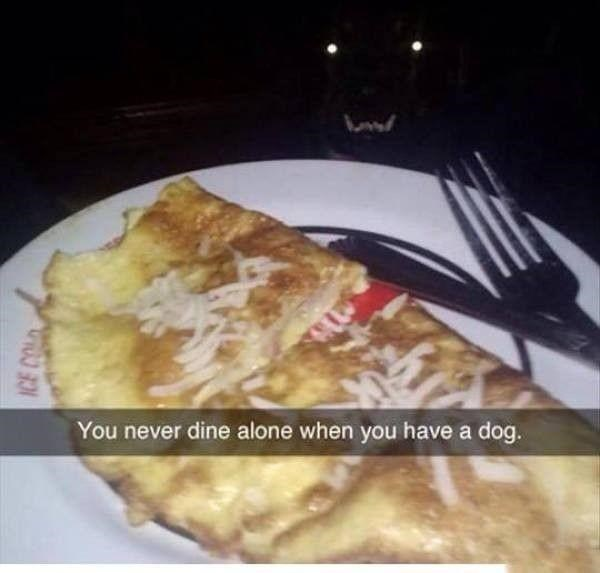 Food - You never dine alone when you have a dog.