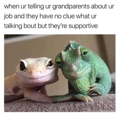 Photograph - when ur telling ur grandparents about ur job and they have no clue what ur talking bout but they're supportive