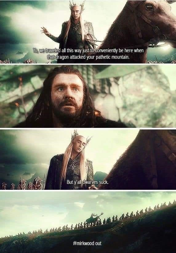 Photograph - Yo, we traveled all this way just to conveniently be here when that dragon attacked your pathetic mountain. But y'all dwar ves suck. #mirkwood out