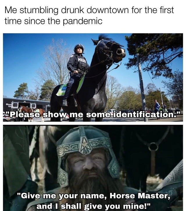 """Horse - Me stumbling drunk downtown for the first time since the pandemic POLIC POLE Mou Please show me some identification."""" """"Give me your name, Horse Master, and I shall give you mine!"""""""