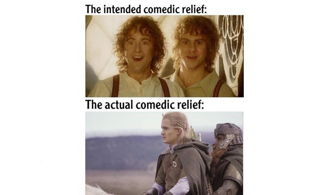 Hair - The intended comedic relief: The actual comedic relief: