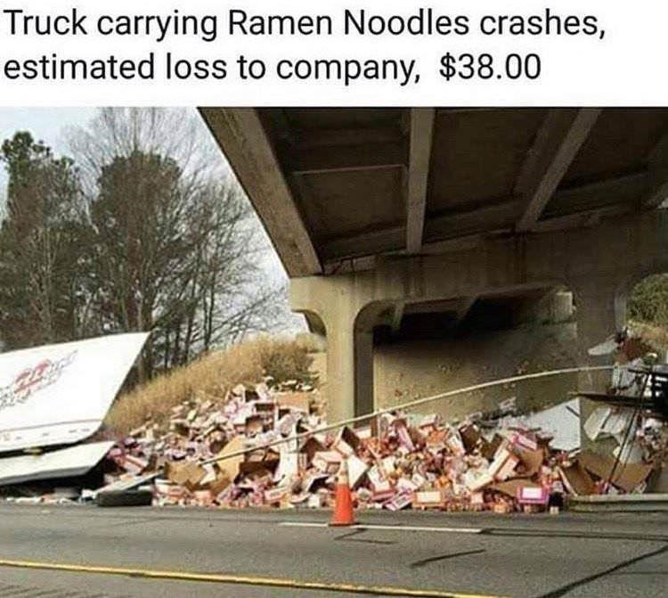 Motor vehicle - Truck carrying Ramen Noodles crashes, estimated loss to company, $38.00