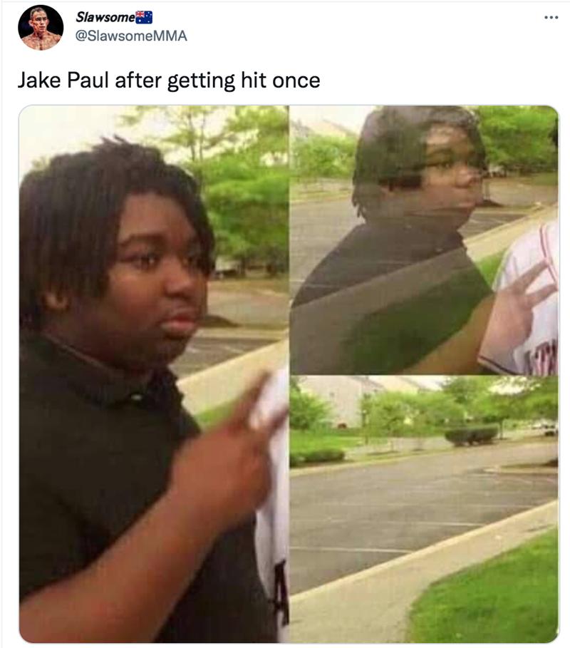 Plant - Slawsome @SlawsomeMMA Jake Paul after getting hit once