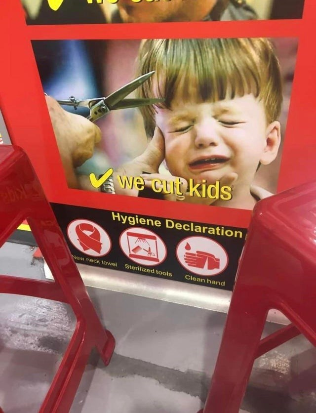 Happy - Vwe cut kids Hygiene Declaration New neck towel Sterilized tools Clean hand