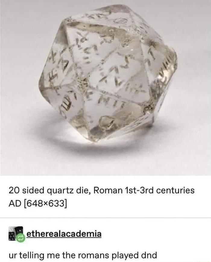 Body jewelry - MIT 20 sided quartz die, Roman 1st-3rd centuries AD [648x633] etherealacademia ur telling me the romans played dnd